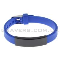 Силиконовый синий браслет с черной пластиной под гравировку (BR-172)