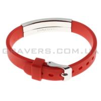 Силиконовый красный браслет с пластиной под гравировку (BR-173)
