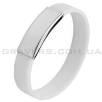 Белый силиконовый браслет с пластиной под гравировку (BR-145)
