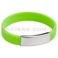 Зелёный силиконовый браслет с пластиной под гравировку (BR-146)