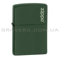 Зажигалка Zippo 221 ZL Green ack Matte w/Zippo Logo