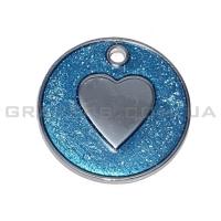 Жетон сердце 25мм с голубыми блестками