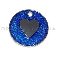 Жетон сердце 25мм с синими блестками